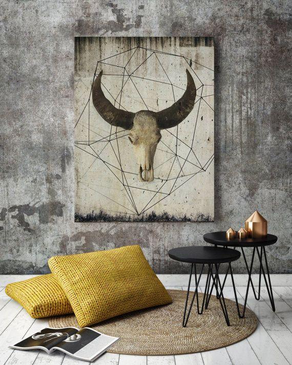 Rustic Canvas Wall Art.Buffalo Skull Art Bison Art Print Buffalo Canvas Buffalo