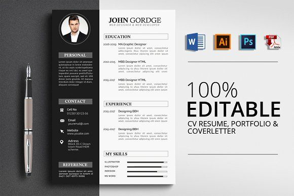 CV Resume by Design Up on @creativemarket Resumes - CV - resumes by design