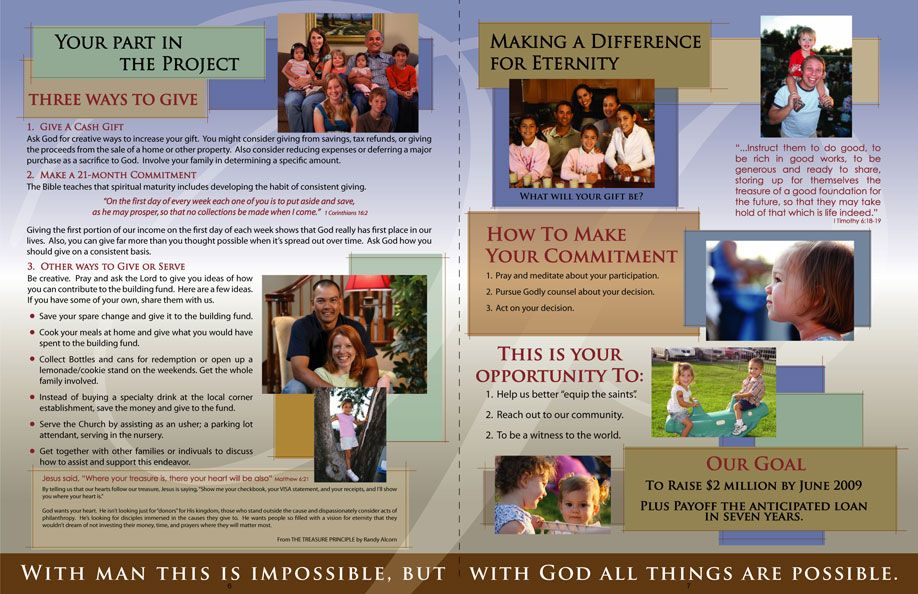 church brochure samples like the color scheme the colored text