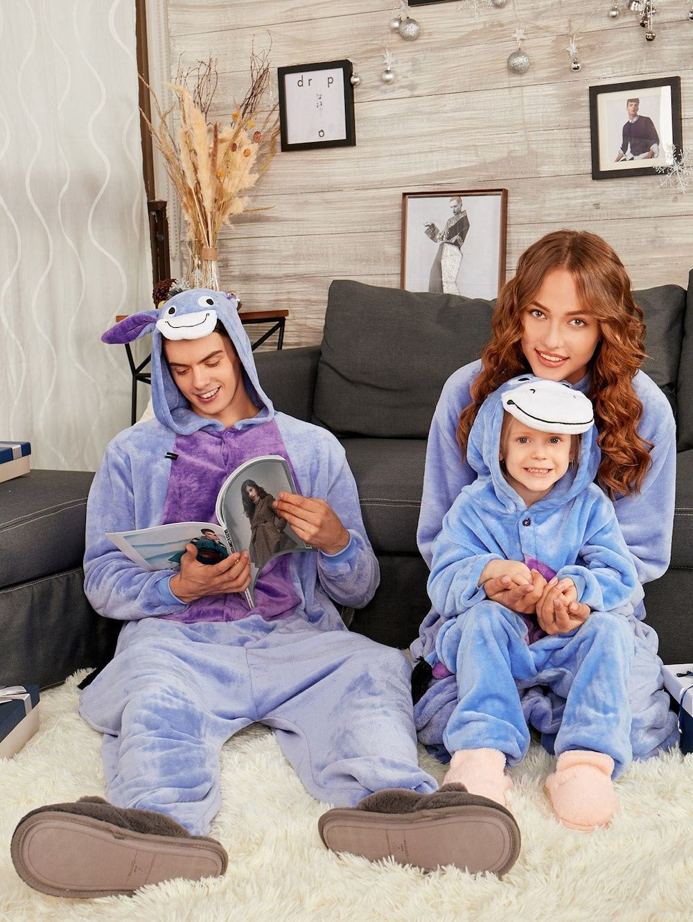 542d4a5eaf Donkey Animal Onesie Matching Family Christmas Pajama Set. Donkey Animal  Onesie Matching Family Christmas Pajama Set - BLUISH VIOLET DAD S