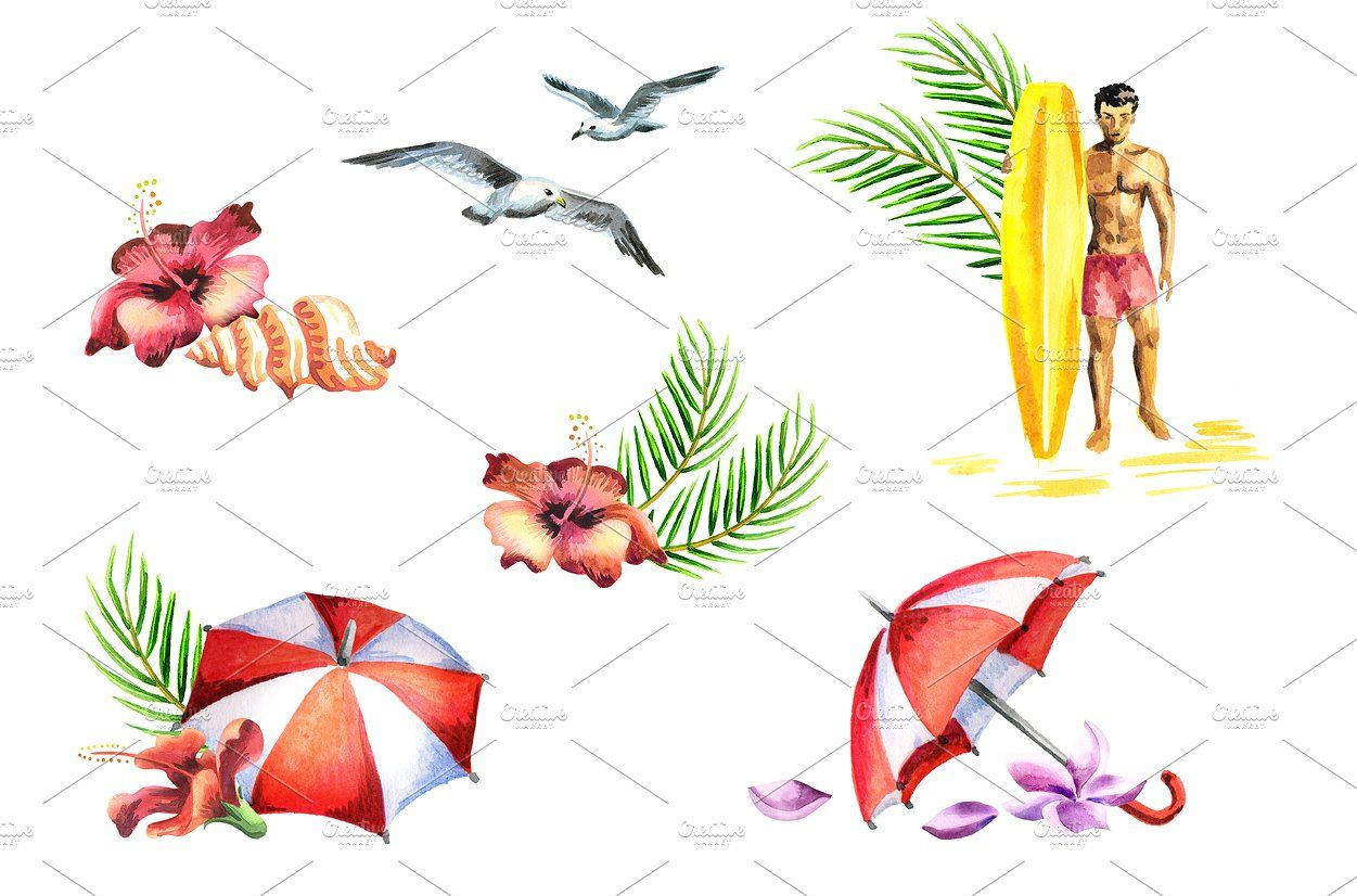 Summer Time Watercolor Bundle Colour Psd Isolated Rgb Summer