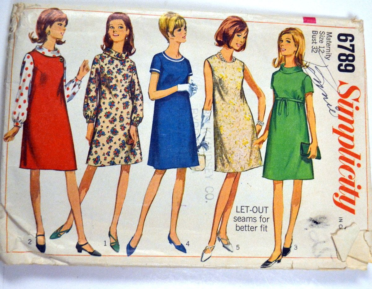Vintage 60s sewing pattern simplicity 6789 maternity dress size vintage 60s sewing pattern simplicity 6789 maternity dress size 12 bust 32 inches ombrellifo Images