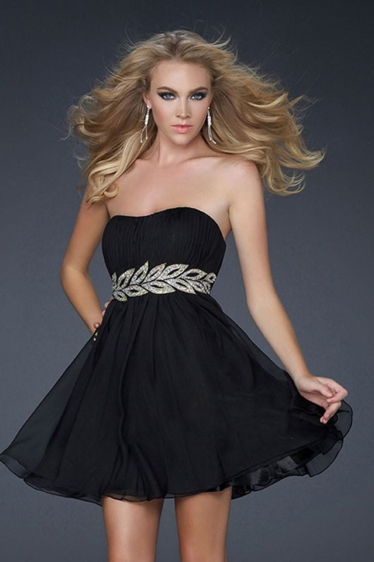 Sheathcolumn strapless shortmini chiffon prom dress with beadings