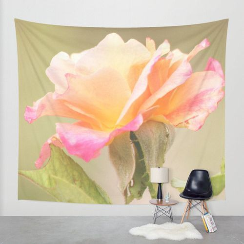 Tapestry Floral Wall Hanging Roses 21 Photography Unique home decor pink flower photo photograph tan olive green yellow bokeh petals bud