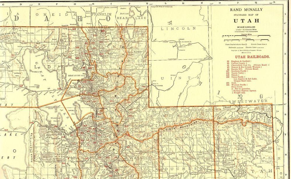 1930 Antique UTAH State Map Vintage Map of Utah w RAILROADS ...