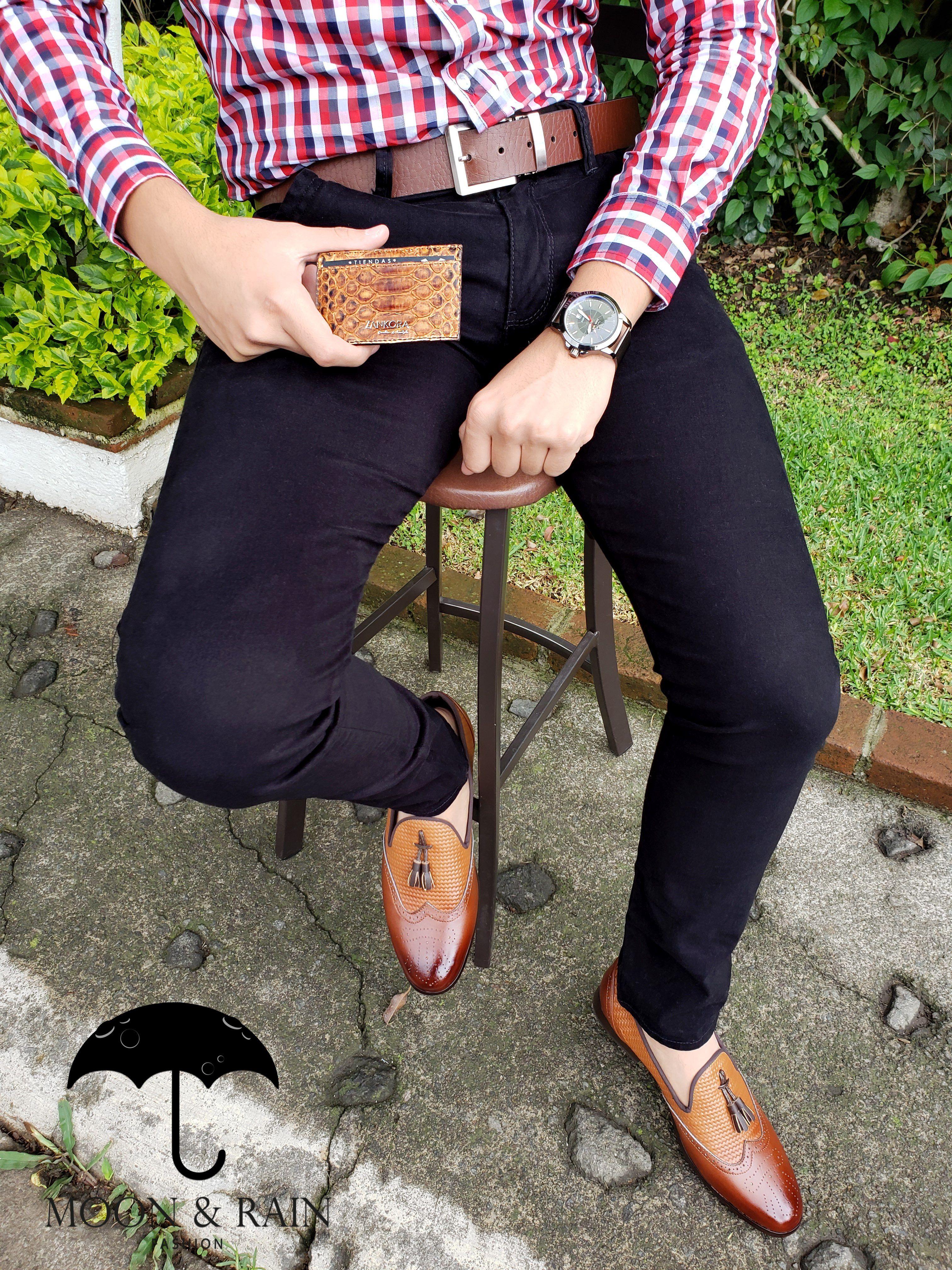 Café Hombre Camisa Para Rojo Outfit Cinturón Cuadros Y Negro De aw4xx5Ez