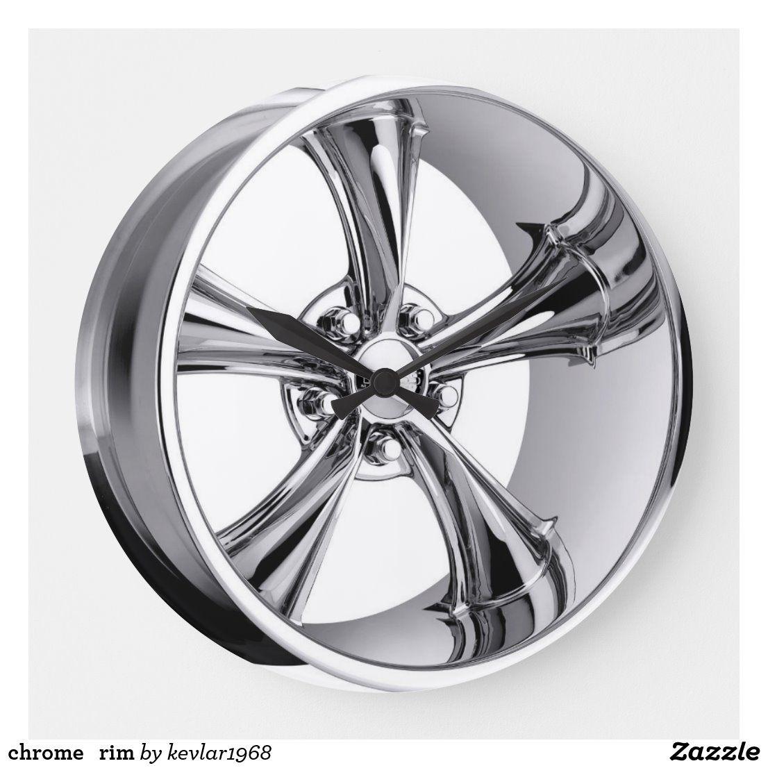 Chrome Rim Large Clock Zazzle Com Foose Wheel Rims Chrome Wheels