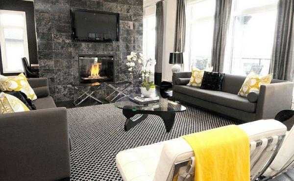 Wohnzimmer Farbgestaltung u2013 Grau und Gelb - Wohnzimmer feuerstelle - farbgestaltung wohnzimmer grau
