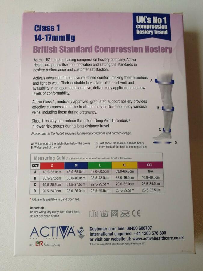 New Activa Compression Hosiery Class 1 14 17mmhg Size Xl Black