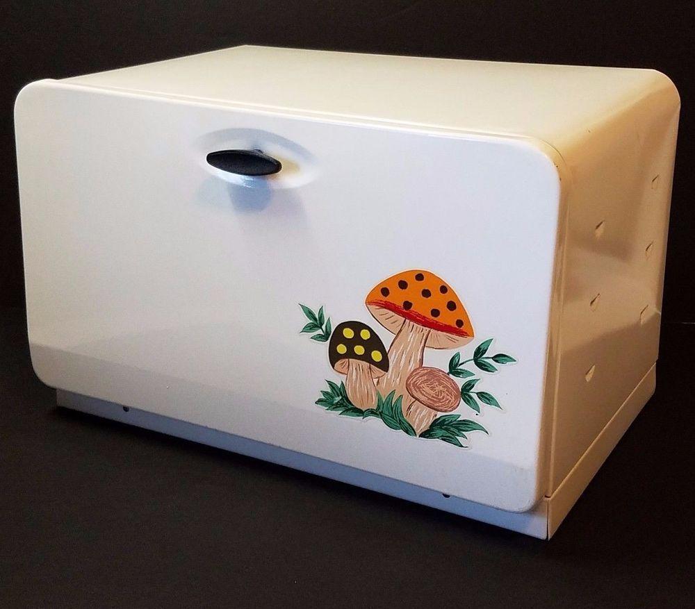 Tin bread box drawer insert - Vintage Mid Century Modern Ekco Mushroom Bread Box Tin Retro Kitchen 1960s Metal