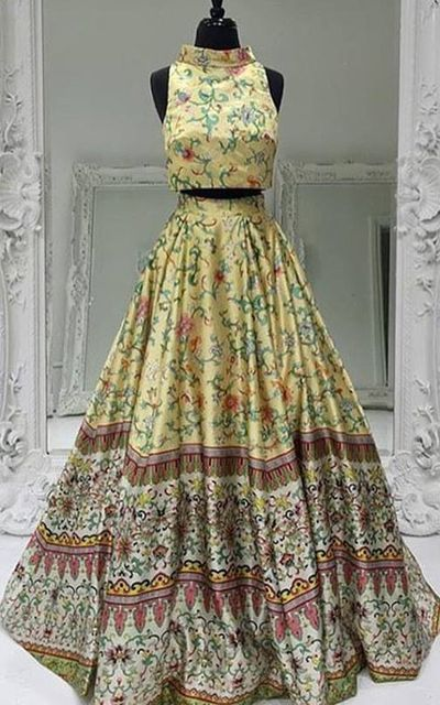 d32c7eb77f83 Two Piece Printed Floral Satin A Line Yellow Long Prom Dress from ...