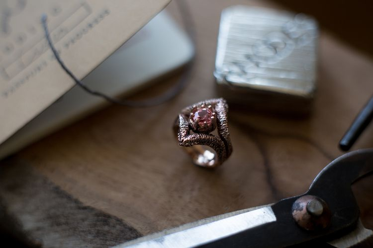 Custom Hand Carved Engagement Ring // Rose Gold // Rhodes Wedding Co. // Sapphire