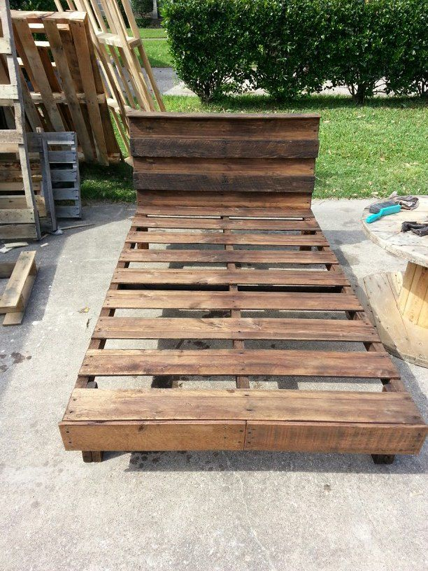 twin bed made completely from one full size pallet weberswoodworks pallet twin bedsdiy - How To Make A Full Size Bed Frame