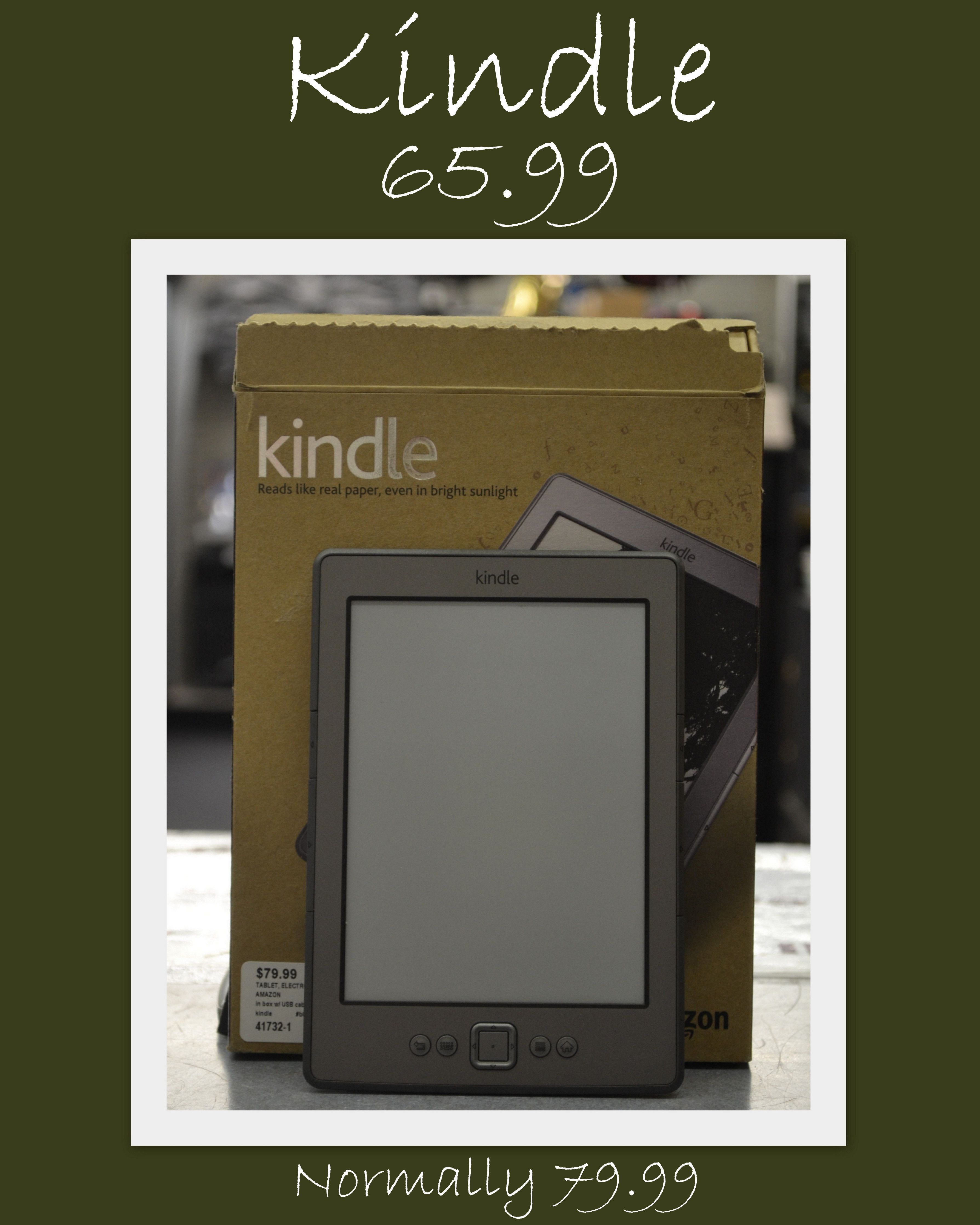 Amazon Kindle for  65.99. Normally 79.99. Please call 618-244-0291 for more info or for payment and shipping options