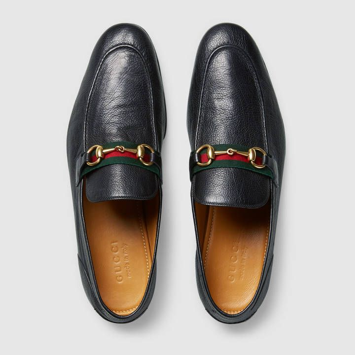 baebd22c6d40e Gucci Horsebit leather loafer with Web Detail 3 Sapatos Masculinos