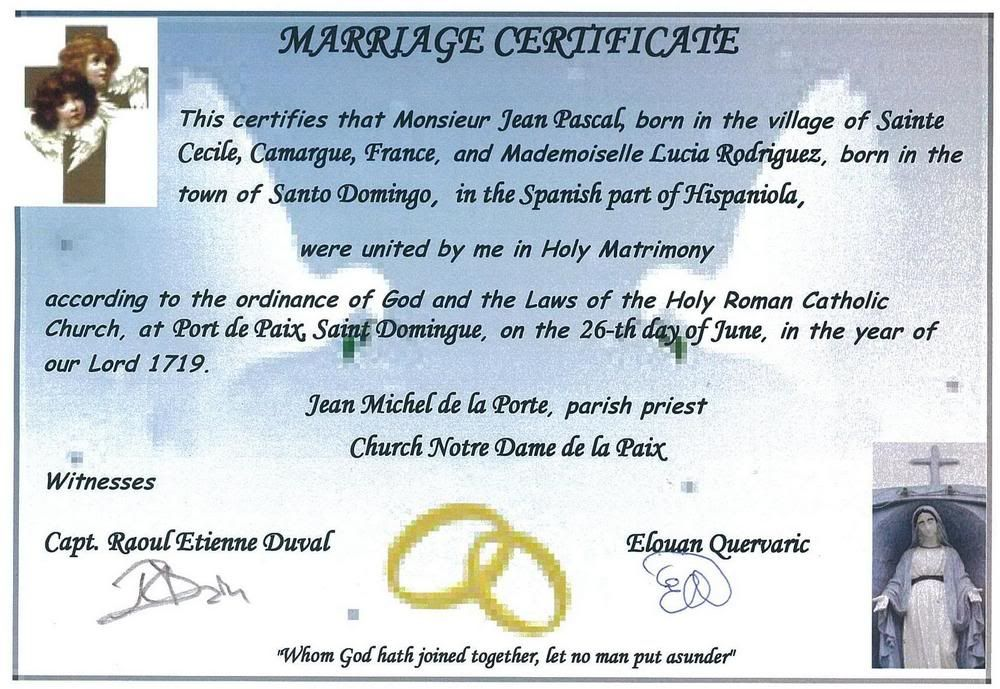 Luciau0027s marriage certificate with Jean Pascal, an old sailor Raoul - marriage contract