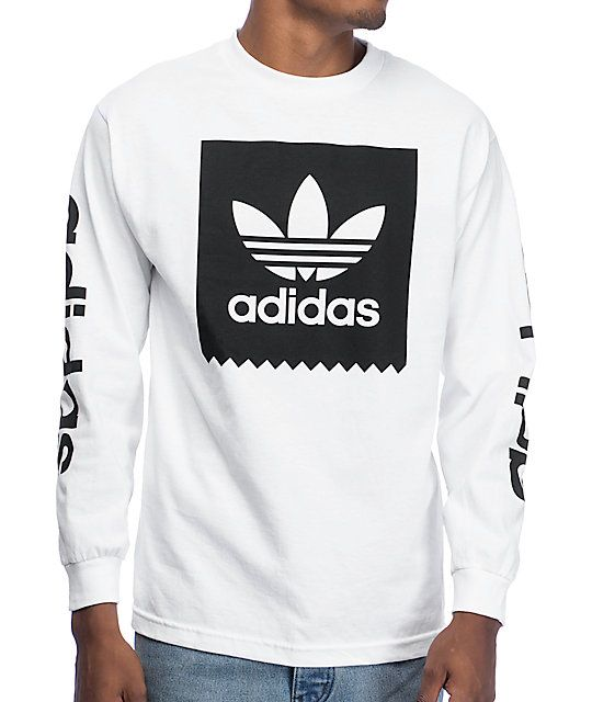 adidas Blackbird White Long Sleeve T-Shirt More f8facdddf370