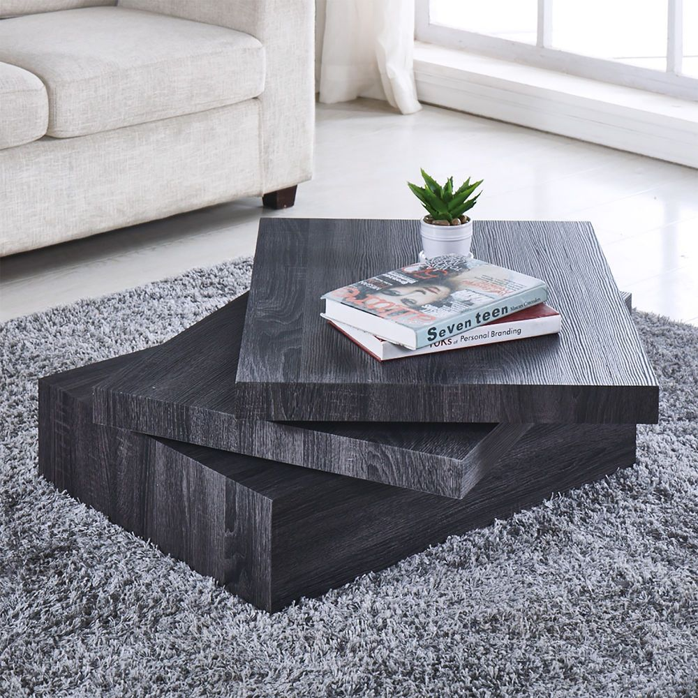 Black Coffee Table Oak Square Rotating Contemporary Modern Living