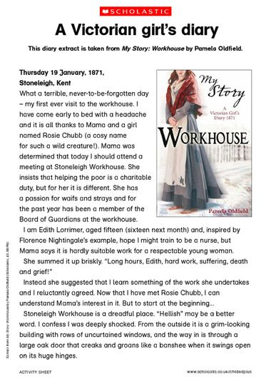 this victorian girl 39 s diary extract is taken from my story workhouse by pamela oldfield. Black Bedroom Furniture Sets. Home Design Ideas