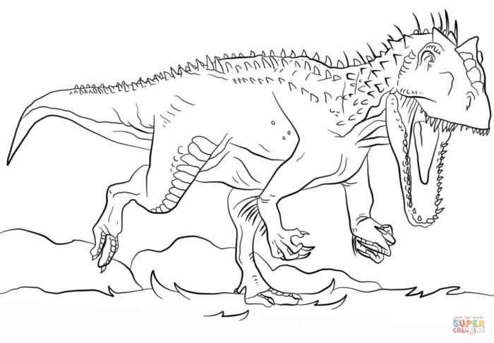 Desenho De Indominus Rex Para Colorir Pintar Dinossauros