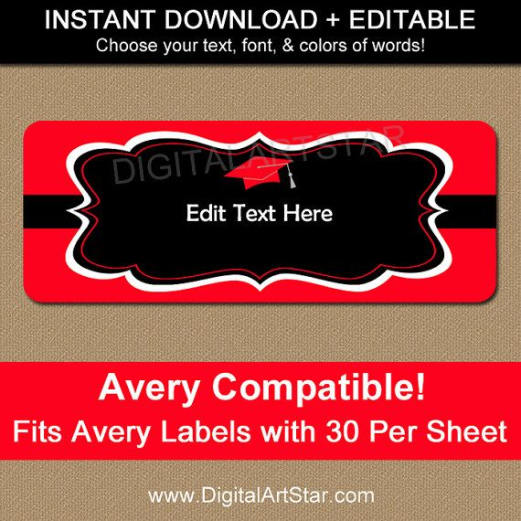 printable address labels for graduation in red black edit the
