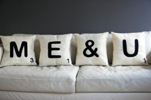 Scrabble Pillows... Love I am thinking Burlap for some texture.