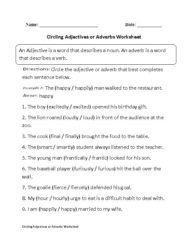5th Grade adverbs worksheets 5th grade : Circling Adjectives or Adverbs Worksheet Part 1 Beginner ...
