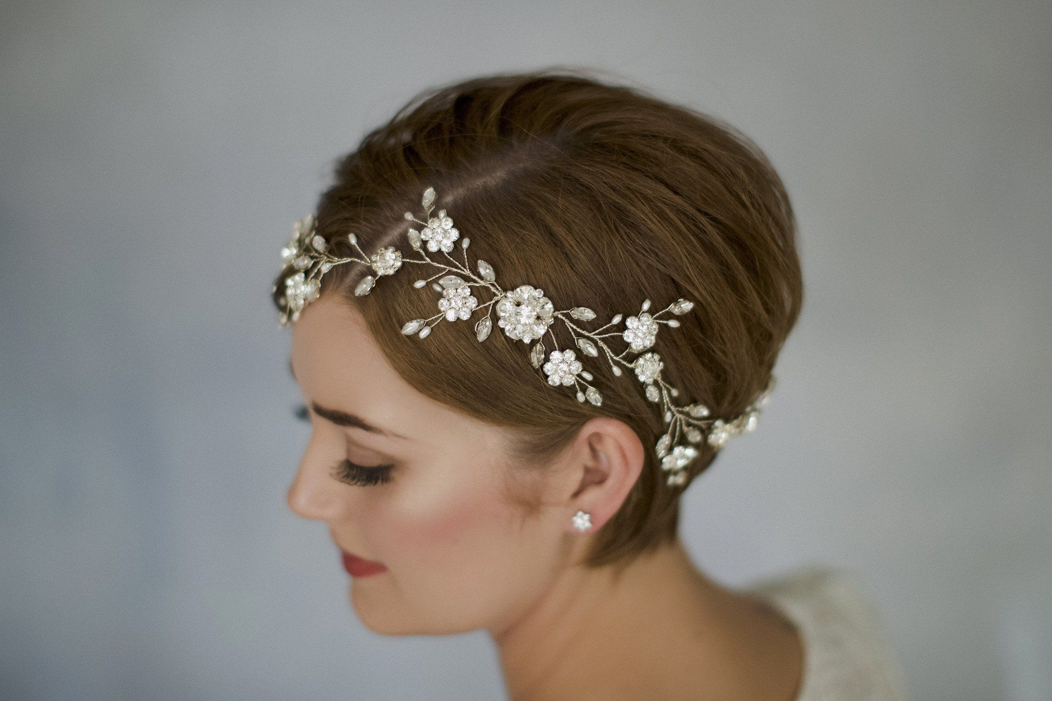 sparkling swarovski crystal and pearl silver bridal hair vine