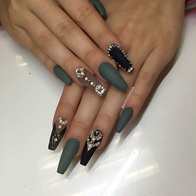 Nailed It, Olive Green Matte Nails, Olive Nails, Acrylic Nails Green, Nail  Designs Bling, Exotic Nail Designs, Diamond Nail Designs, Makeup Designs,  ... - Pin By Lauren Smith On Nail Design Pinterest OPI, Manicure And