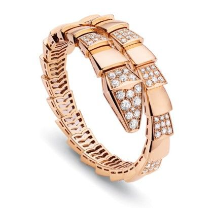 Bvlgari Serpenti pink gold bracelet demi diamonds BVLGARI