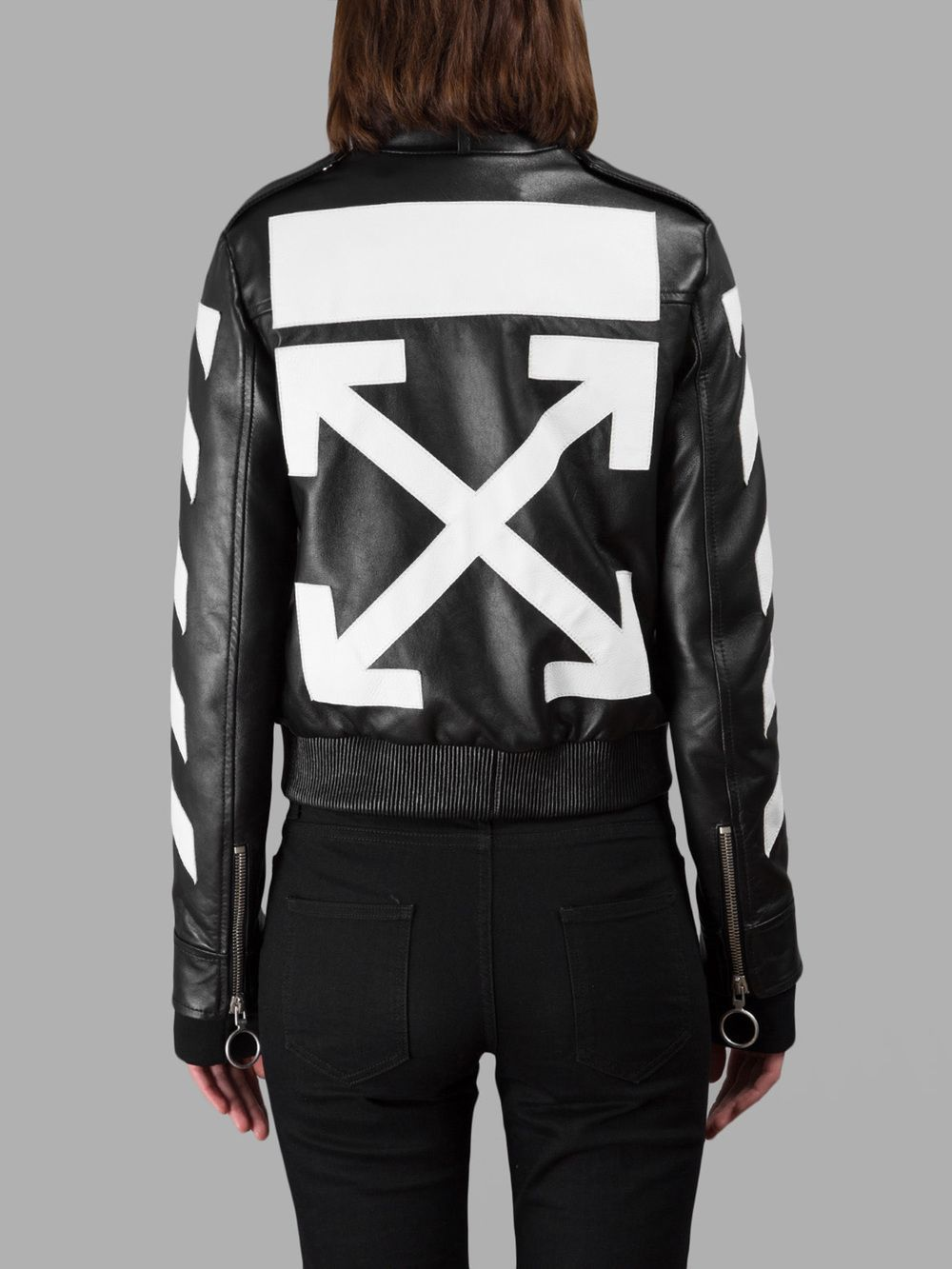 OFF WHITE CO VIRGIL ABLOH WOMEN'S BLACK LEATHER JACKET2 in