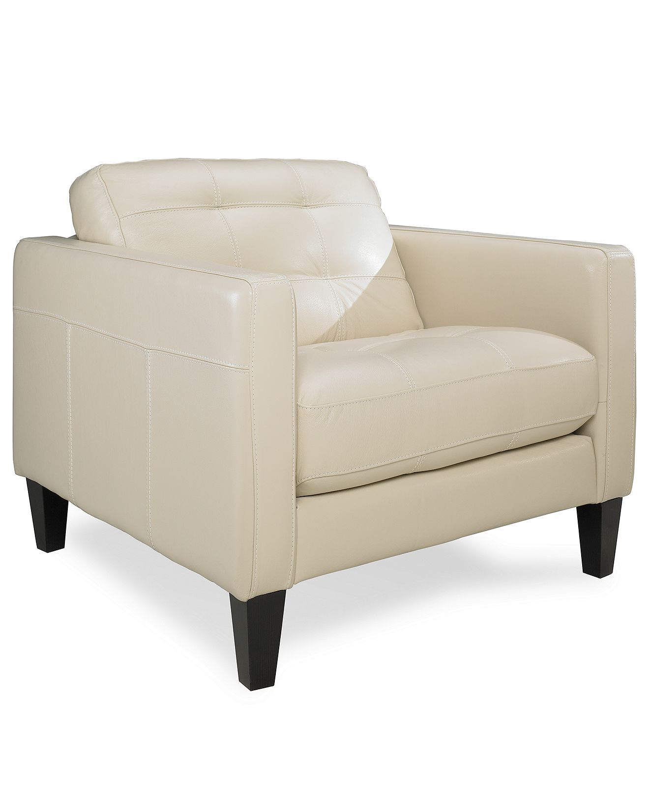 """Milan Leather Living Room Chair, 39""""W x 36""""D x 34""""H ..."""