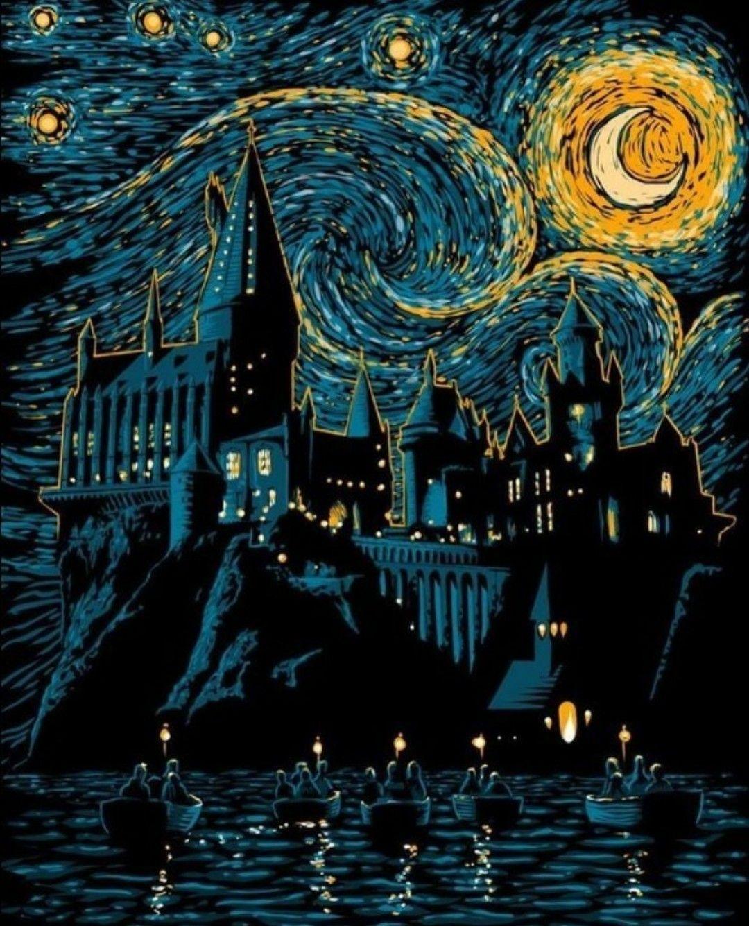 Wallpaper Harry Potter Hogwarts Van Gogh Noite Estrelada
