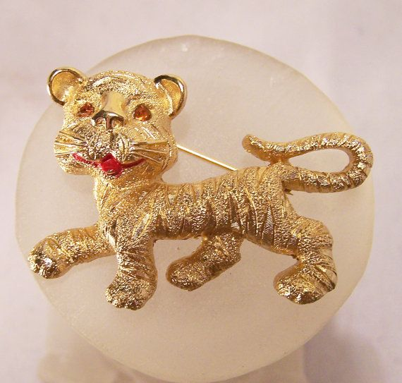Vintage Monet Gold Tone Tiger Cub Brooch with by GretelsTreasures, $20.00