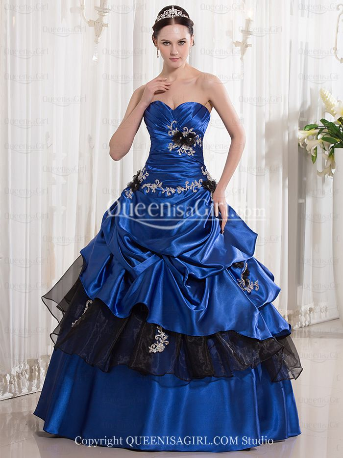 Ball Gown Princess Strapless Sweetheart Long / Floor-Length Elastic Silk-like Satin Organza Quinceanera Dress front back detail and photogallery