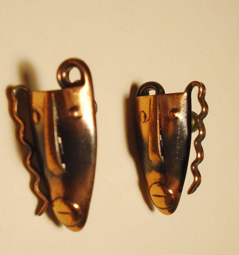 Vtg Frank Rebajes Earrings Screw Back Designer Copper Tribal Mask  Ethnic  #Rebajes #TribalMaskScrewBackVintageEarrings