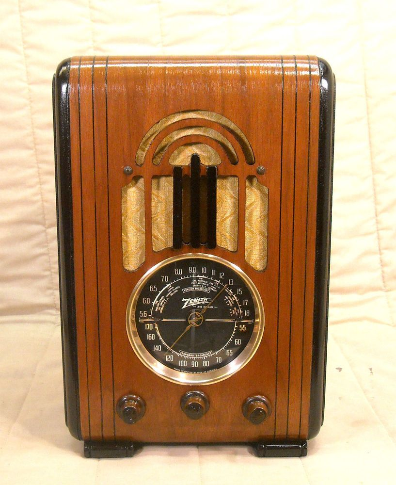 Old Antique Wood Zenith Vintage Tube Radio Restored Working Black Dial Tombstone Antique Radio How To Antique Wood Antiques