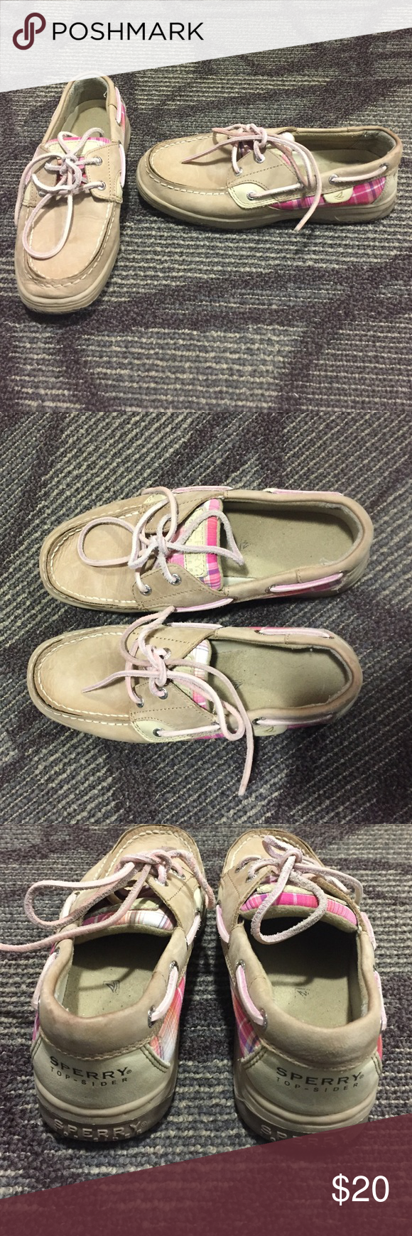 Pink plaid kids 3.5 sperrys Kids size 3.5 good used condition- only worn a handful of times. Designed with pink plaid details. Sperry top- spider Shoes