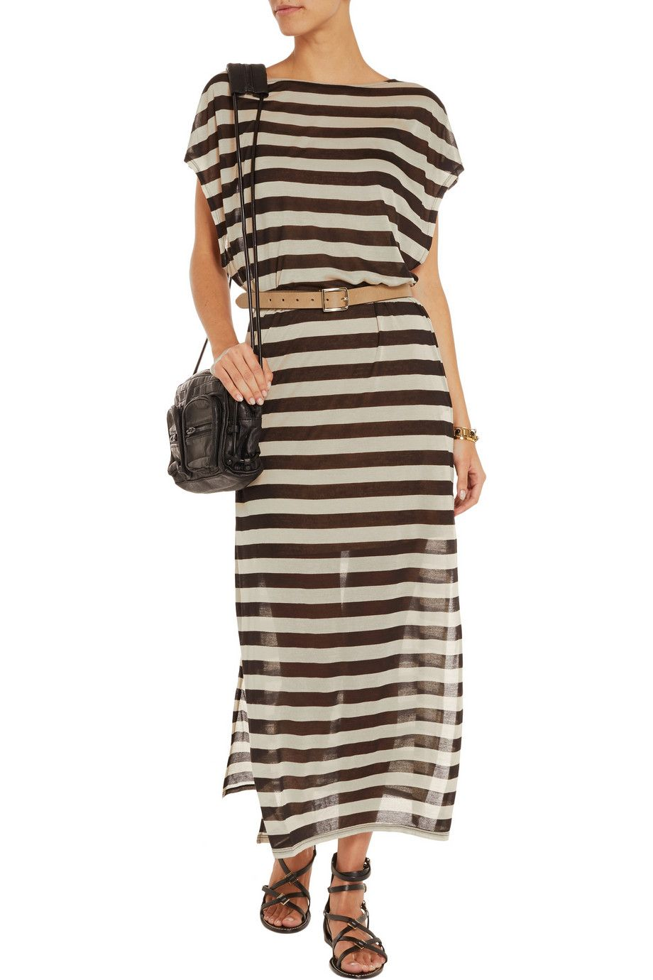 Shimmered silk maxi dress by maison scotch pants