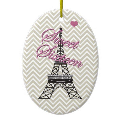 Personalized Sweet 16 Paris Eiffel Tower Ornament Popular