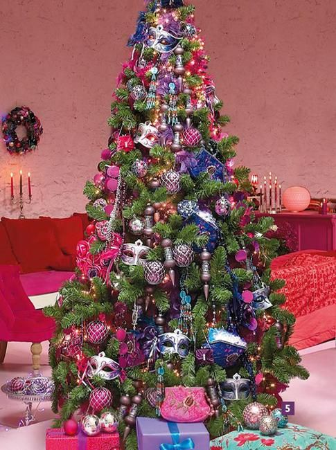 Colorful Christmas Trees Ideas Part - 16: Christmas Tree Decoration Blending Purple And Pink Colors Into Winter  Holiday Decor