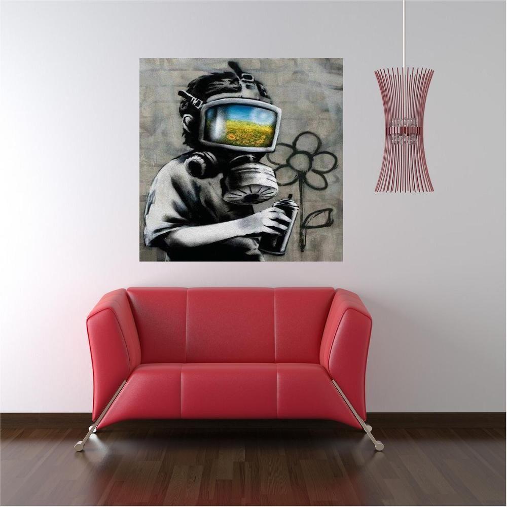 Banksy Printed Custom Vinyl Wall Decals Stick On Wall Art Wall - Custom vinyl wall decal equipment