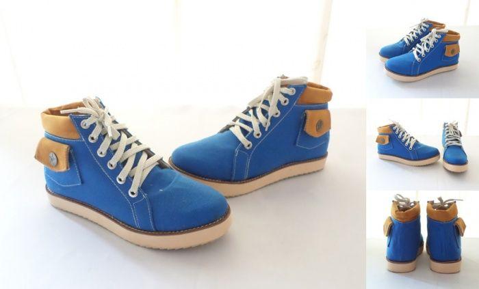 Sepatu Casual Cute Pocket Warna Biru Bahan Kanvas Tebal
