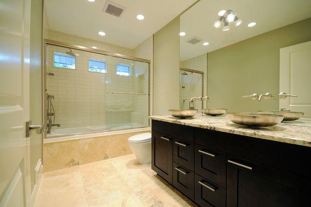 Brilliant Award Winning Britannia Bungalow Contemporary Bathroom Design Interior Used Dark Wooden Vanity Cabinets Furniture