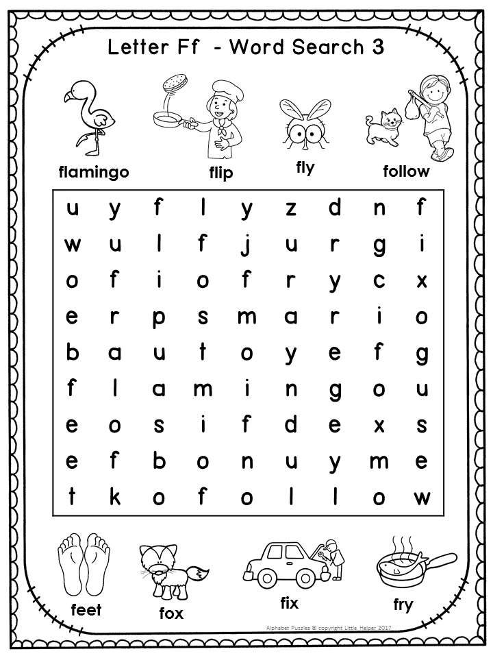 Free Alphabet Word Search Puzzles Letter F Alphabet