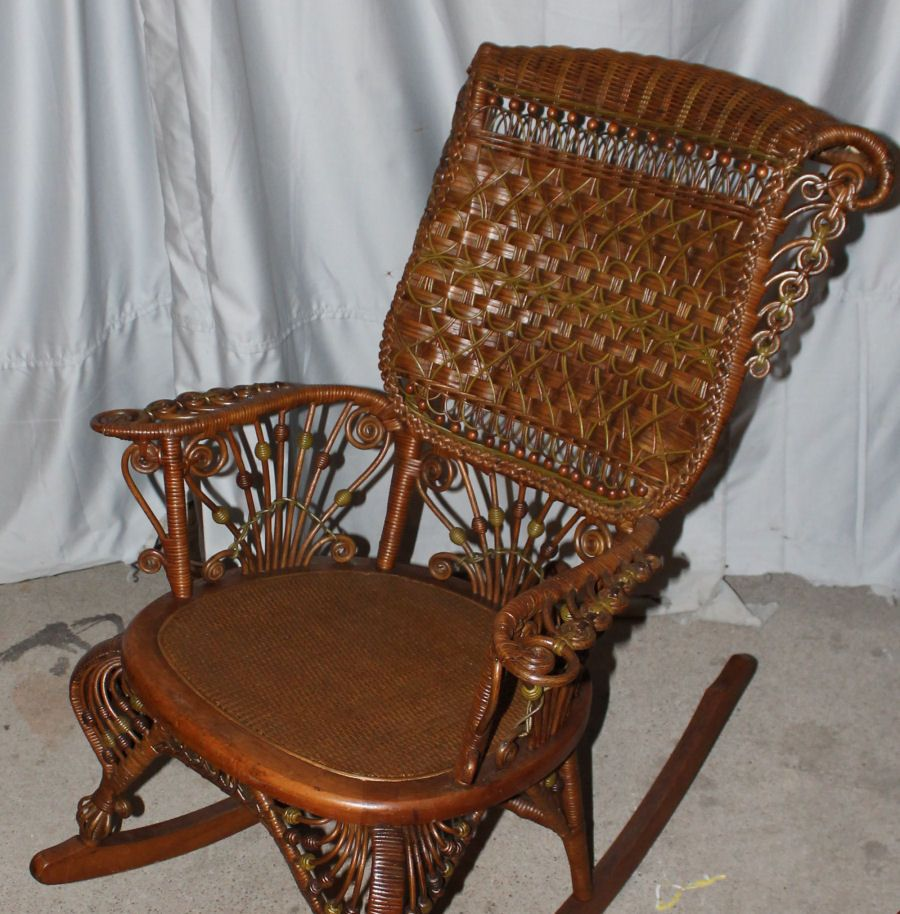 This is a very fancy Victorian Wicker Rocking Chair. This wicker rocker was  made by - This Is A Very Fancy Victorian Wicker Rocking Chair. This Wicker