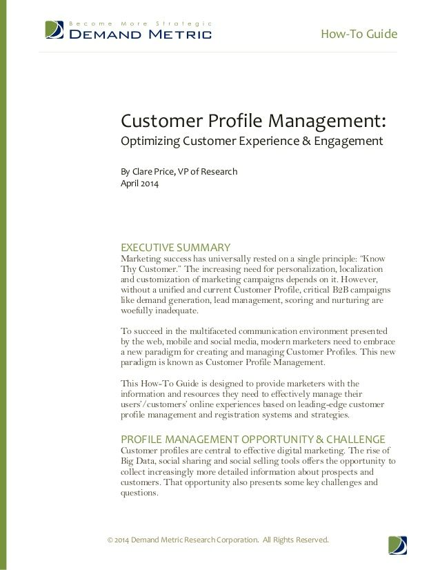 How-To Guide Customer Profile Management by Demand Metric via - customer profile