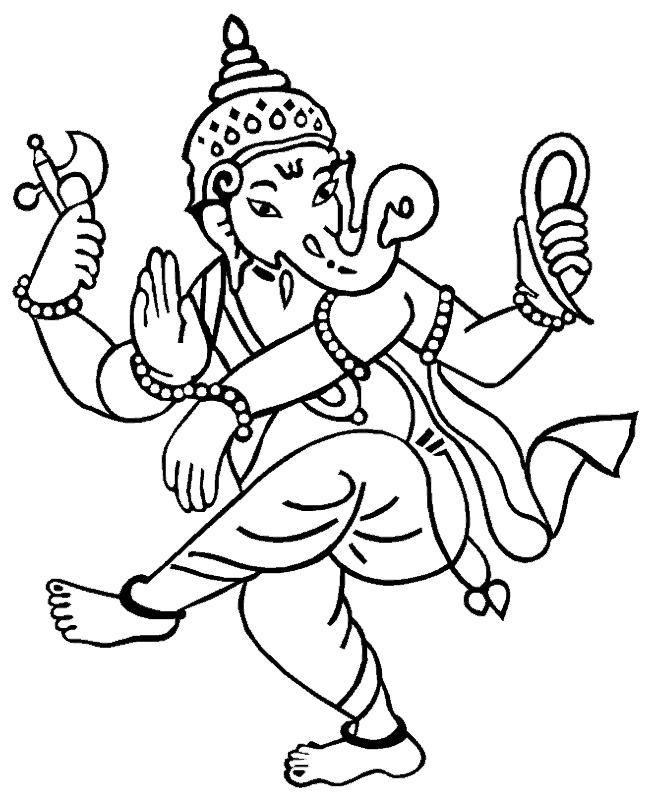 Coloring Pages Hindu Gods Ganesha Drawings All About India In 2019