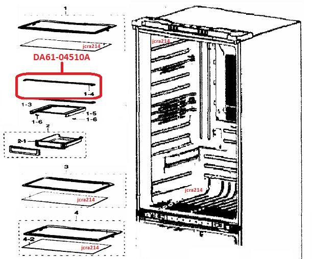 Samsung Fridge Chill Tray SUPPORT-GUIDE RAIL REAR; DA61