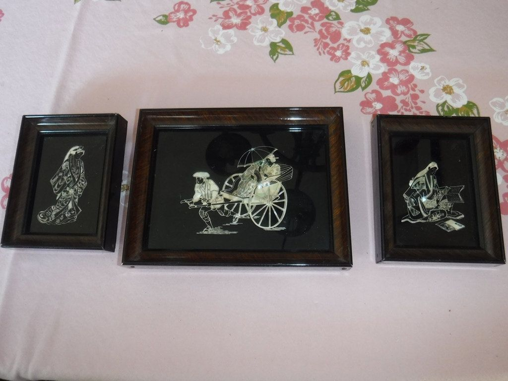 Vintage Japanese Art Lacquer Framed Art Mother of Pearl X 3 by ...